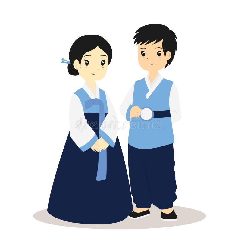 Coreano Hanbok, vector tradicional del vestido ilustración del vector