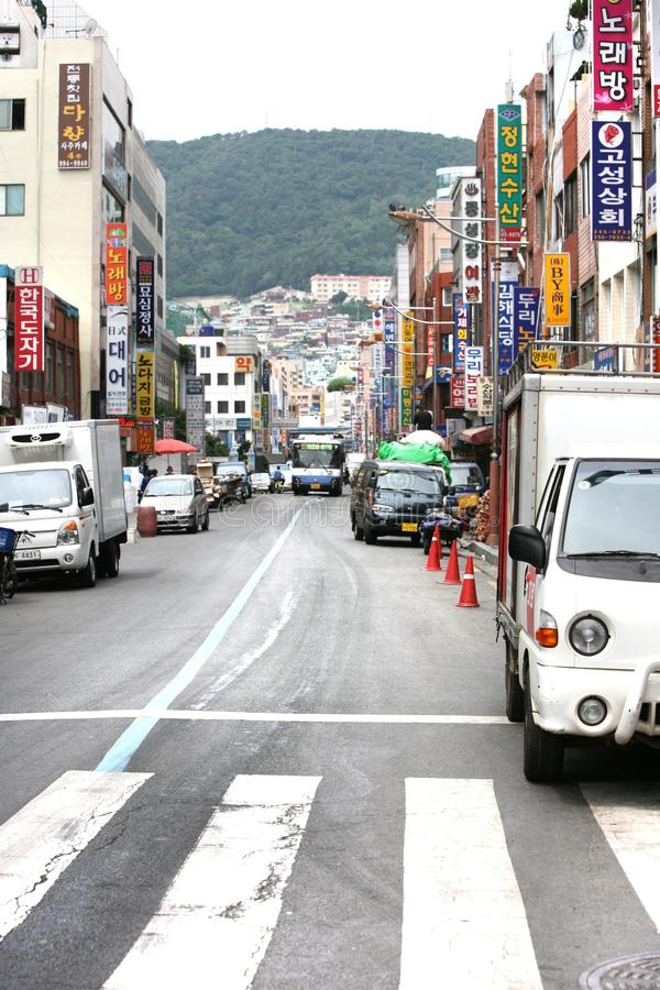 Coreia, Busan, carros da rua imagens de stock