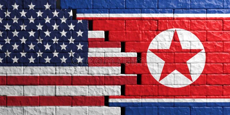 Coreia do Norte e bandeira dos EUA, fundo da parede de tijolo ilustração 3D ilustração stock