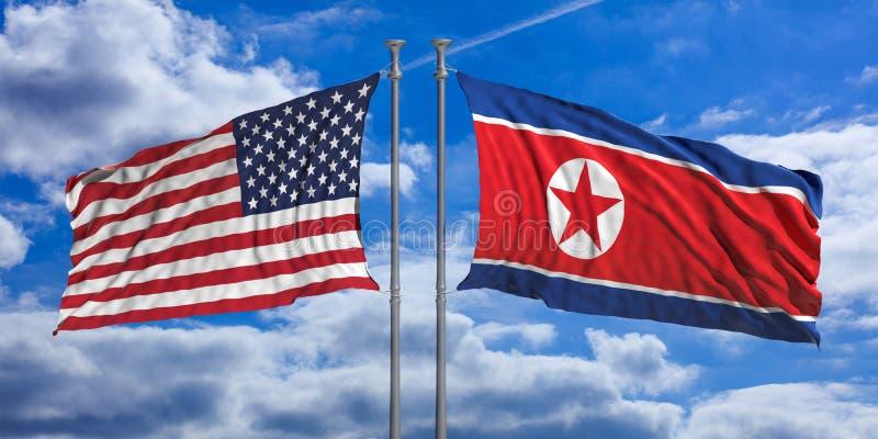 Coreia do Norte e bandeiras dos EUA no fundo do céu azul ilustração 3D ilustração do vetor