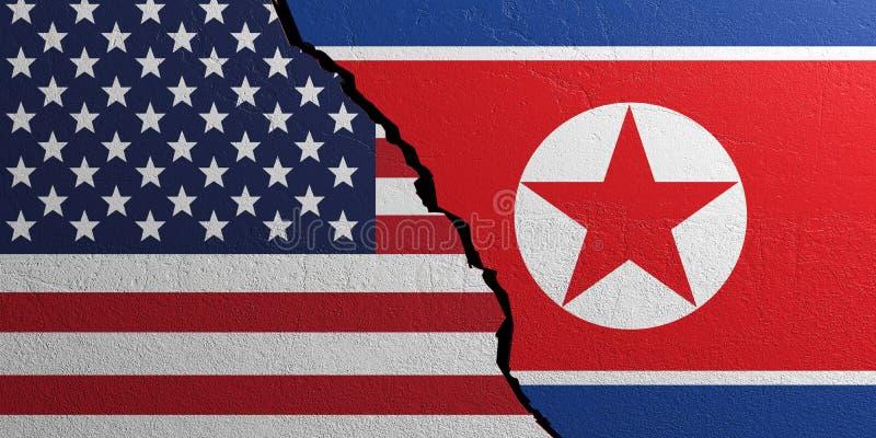 A Coreia do Norte e os EUA embandeiram, fundo emplastrado da parede ilustração 3D ilustração stock
