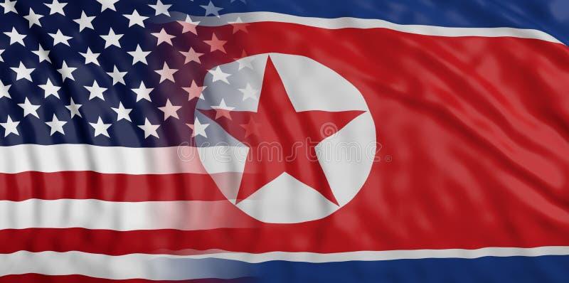 Coreia do Norte e E.U. do relacionamento de América Textura do fundo das bandeiras nacionais ilustração 3D ilustração royalty free