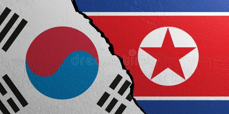 Coreia do Sul e a Coreia do Norte embandeiram, fundo emplastrado da parede ilustração 3D ilustração stock