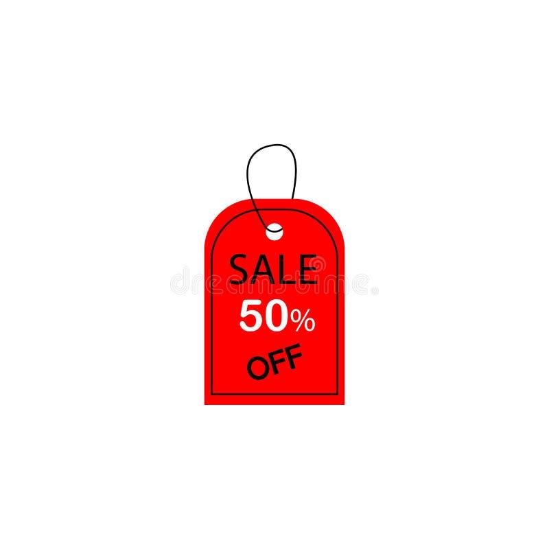 50 από την πώληση για την επιχείρηση και την προώθηση r η κόκκινη ετικέττα με την έκπτωση στο άσπρο υπόβαθρο ελεύθερη απεικόνιση δικαιώματος