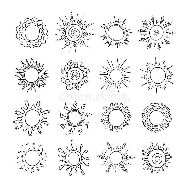 手绘太阳 矢量插图 杜德勒 库存例证