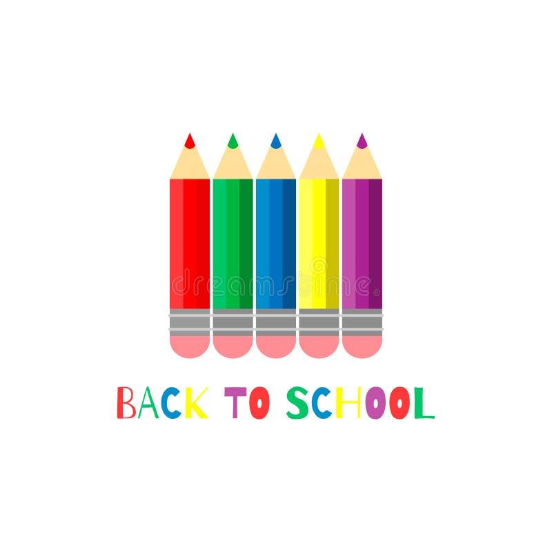 r 设置传染媒介上色了有橡胶的铅笔在白色背景 回到校旗 EPS10 皇族释放例证