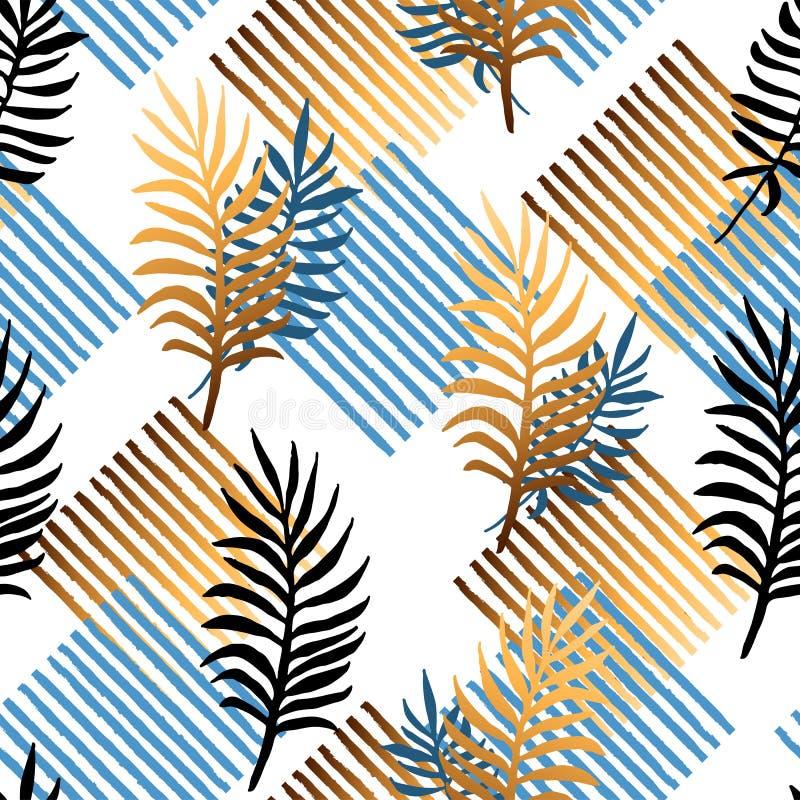 Безшовная картина с тропическими голубыми и золотыми листьями, нашивками иллюстрация штока