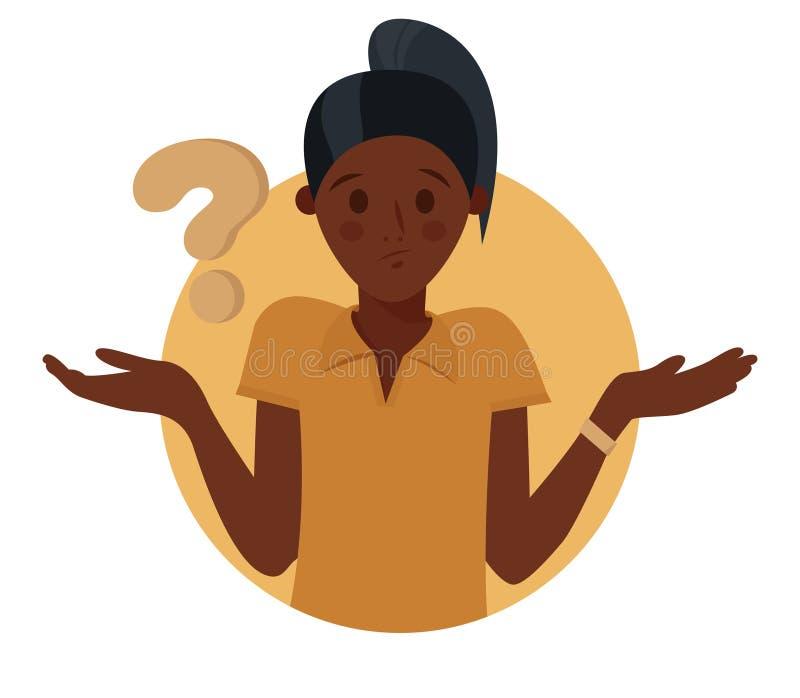 Сомнения девушки мультфильма милые черные, думают почему Женщина с вопросительным знаком r бесплатная иллюстрация