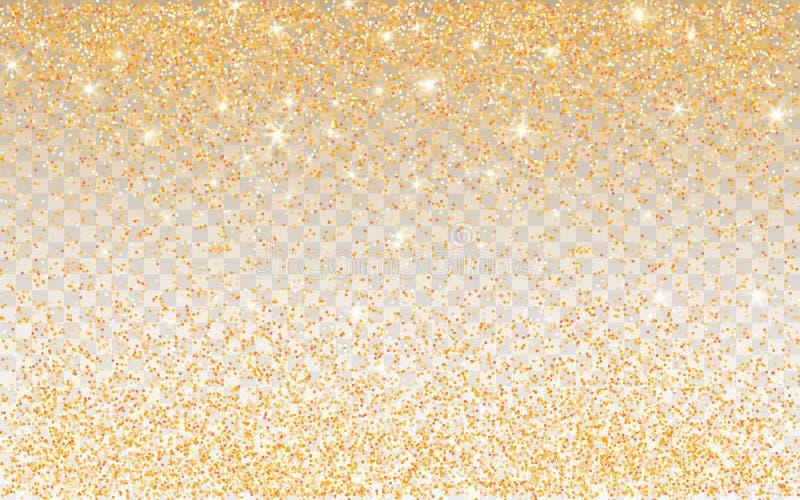 Золотая искра яркого блеска на прозрачной предпосылке Предпосылка золота живая со светами блеска r бесплатная иллюстрация