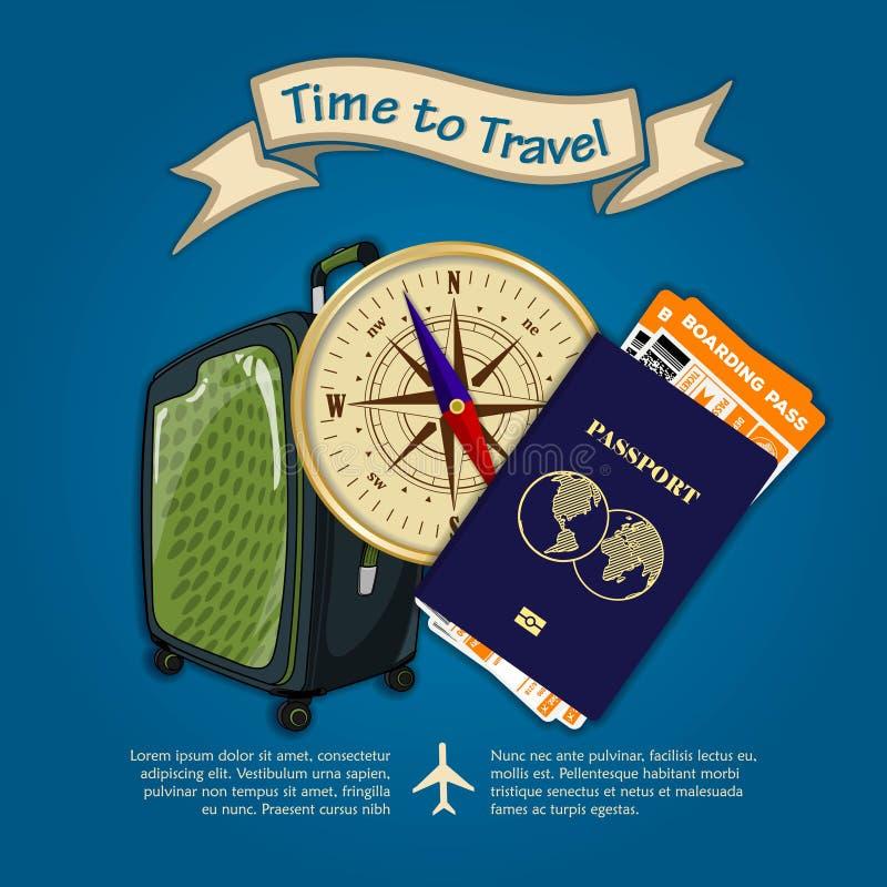 Время путешествовать Концепция на перемещение и каникулы r иллюстрация вектора