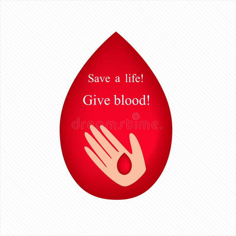 Переливание крови даритель Вызовите для того чтобы подарить r иллюстрация вектора