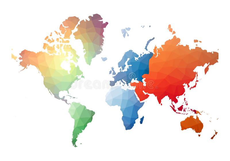 Παγκόσμιος χάρτης πραγματικό χαμηλό πολυ ύφος ελεύθερη απεικόνιση δικαιώματος