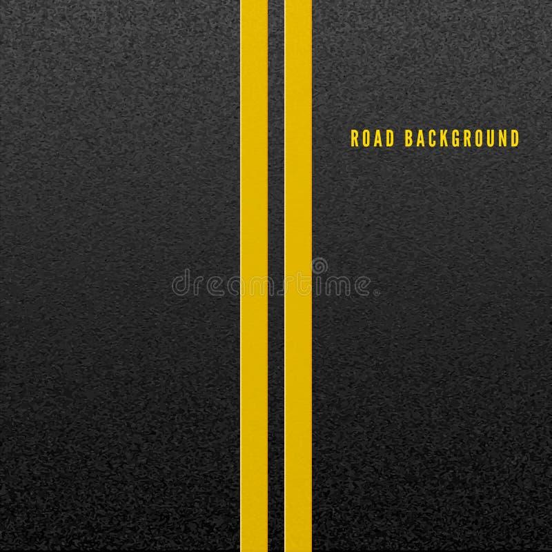 颗粒状沥青结构  抽象路背景 与两黄线路标的沥青纹理 r 向量例证