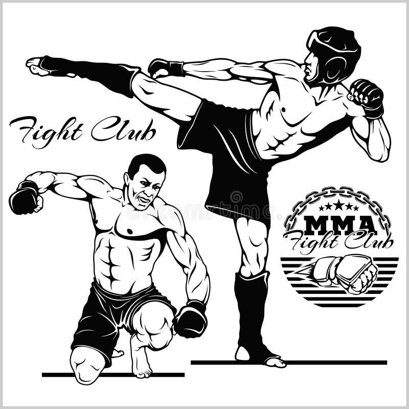 Μαχητές των αρειανών μικτών τεχνών Έμβλημα αθλητικών λεσχών r διανυσματική απεικόνιση
