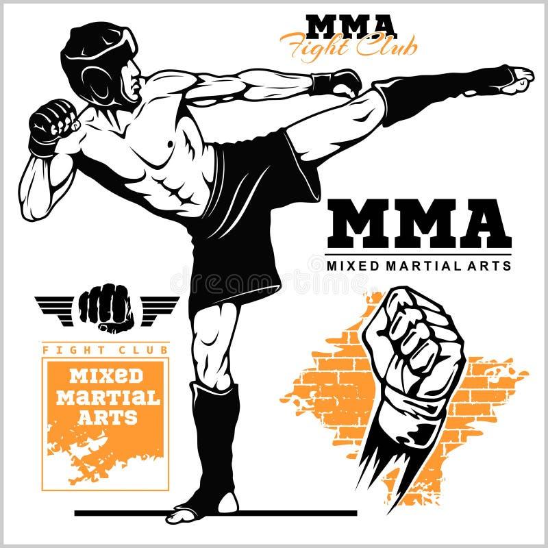 Μαχητές των αρειανών μικτών τεχνών Έμβλημα αθλητικών λεσχών r ελεύθερη απεικόνιση δικαιώματος