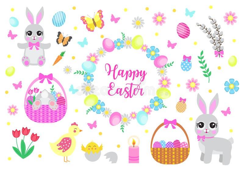 复活节快乐设置了对象,设计元素 与逗人喜爱的兔宝宝、花和复活节彩蛋的春天汇集 ?? 库存例证