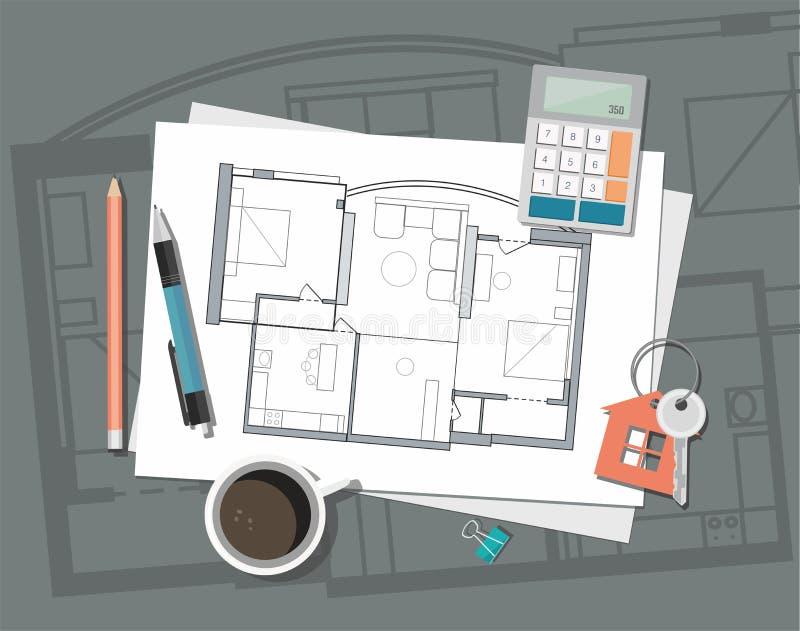 План дома архитектора строительного проекта с инструментами Ключ с символом дома Предпосылка конструкции иллюстрация вектора