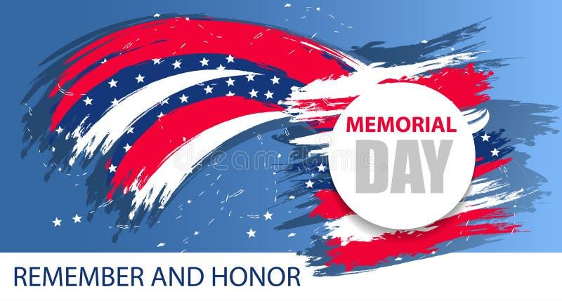 Ημέρα μνήμης ΗΠΑ Ζωηρόχρωμο σύγχρονο υπόβαθρο Δυναμικά στοιχεία σχεδίου για ένα ιπτάμενο, μια πώληση, τα φυλλάδια, τις παρουσιάσε απεικόνιση αποθεμάτων