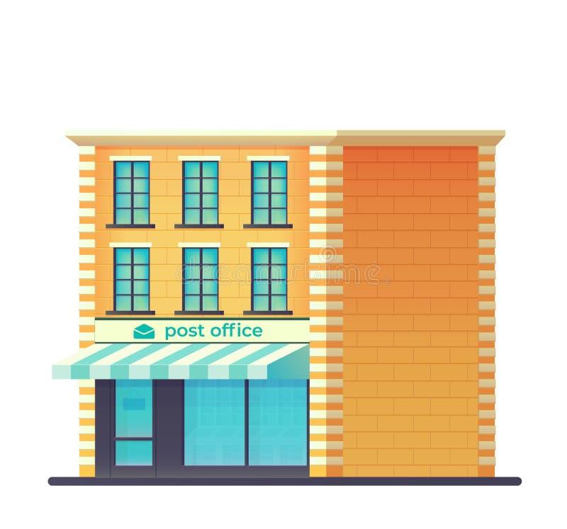 Κτήριο ταχυδρομείου Υπηρεσία ταχυδρομικής παράδοσης   διανυσματική απεικόνιση