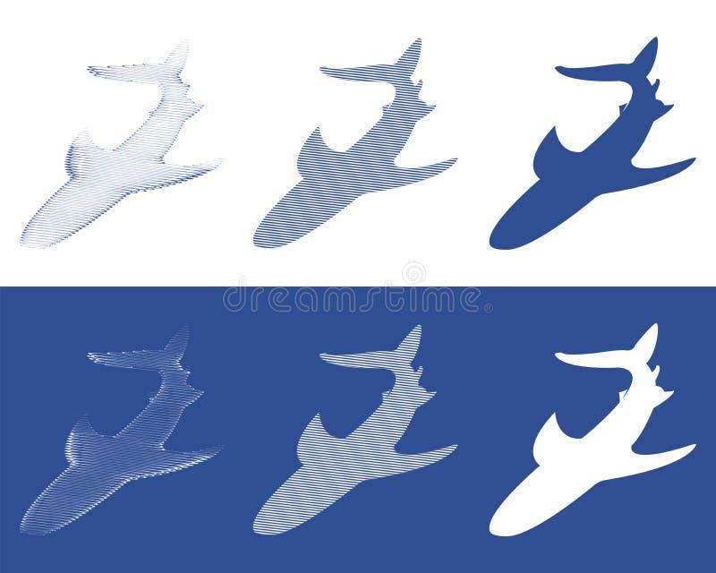 Σκιαγραφίες των καρχαριών ελεύθερη απεικόνιση δικαιώματος