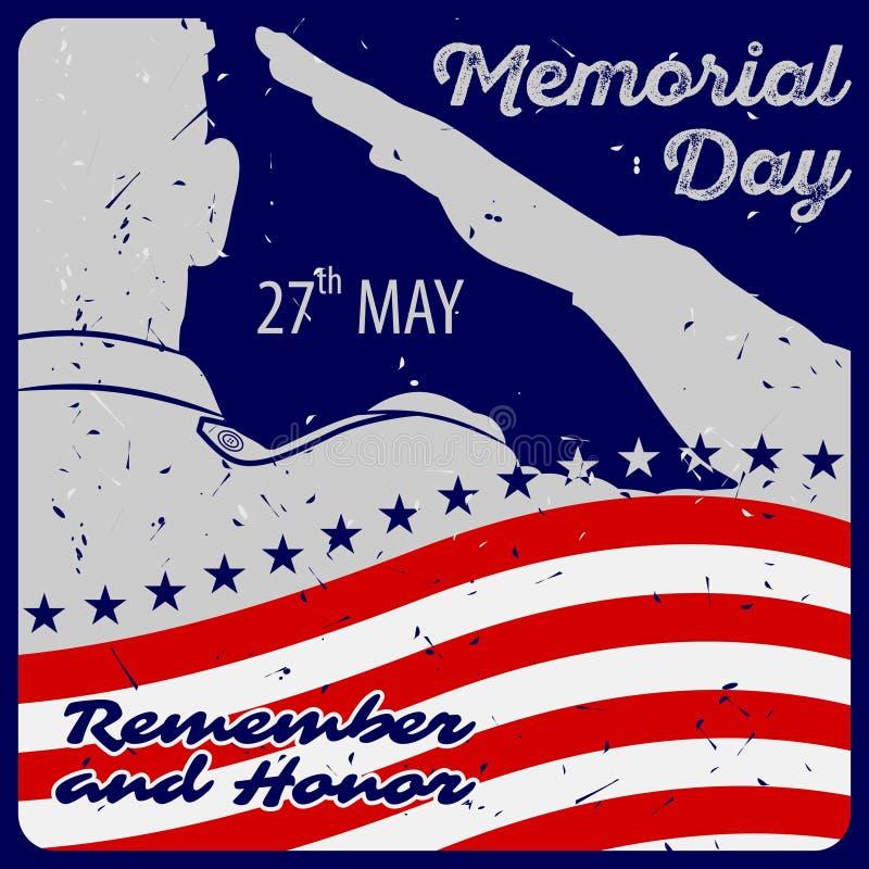 Шаблон плаката Дня памяти погибших в войнах Солдаты армии США салютуя на предпосылке американского флага r иллюстрация штока