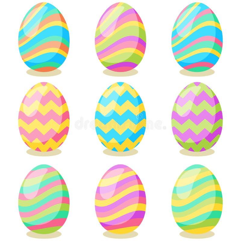 Ευτυχής κάρτα Πάσχας Σύνολο χαριτωμένων αυγών Πάσχας με τη διαφορετική σύσταση σε ένα άσπρο υπόβαθρο Διακοπές άνοιξη ελεύθερη απεικόνιση δικαιώματος
