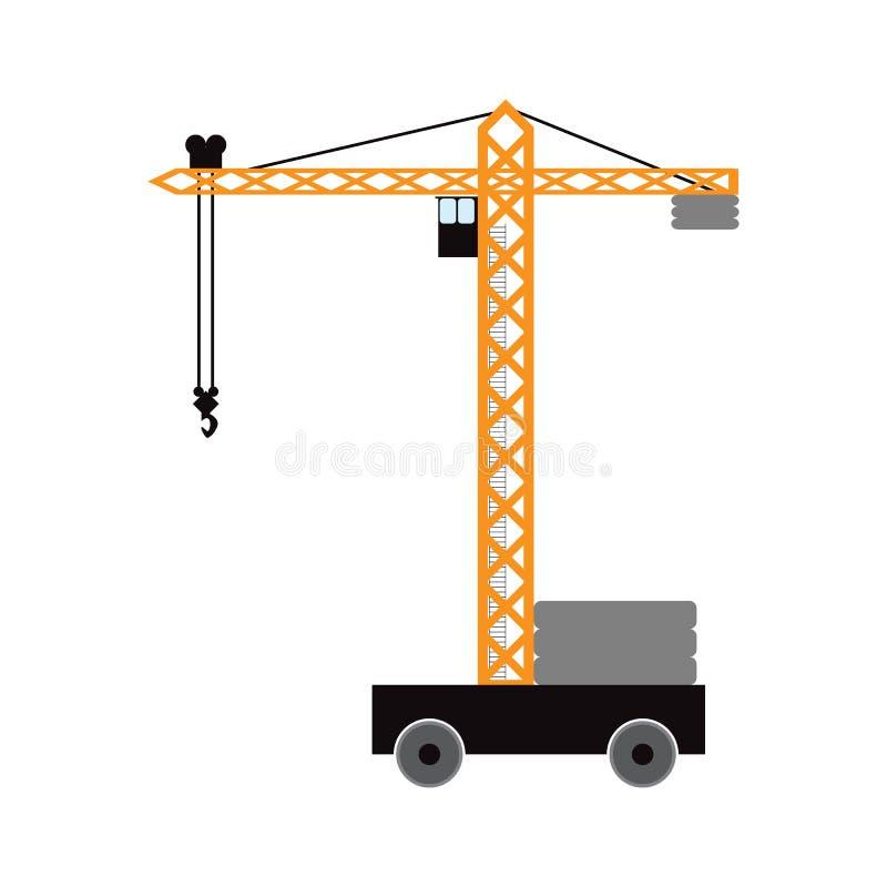Кран башни конструкции Изолированный элемент r иллюстрация штока