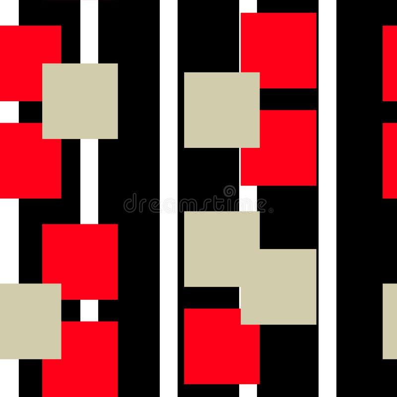 Дизайн предпосылки картины конспекта цифров линейный геометрический безшовный в красных и черных цветах r иллюстрация штока