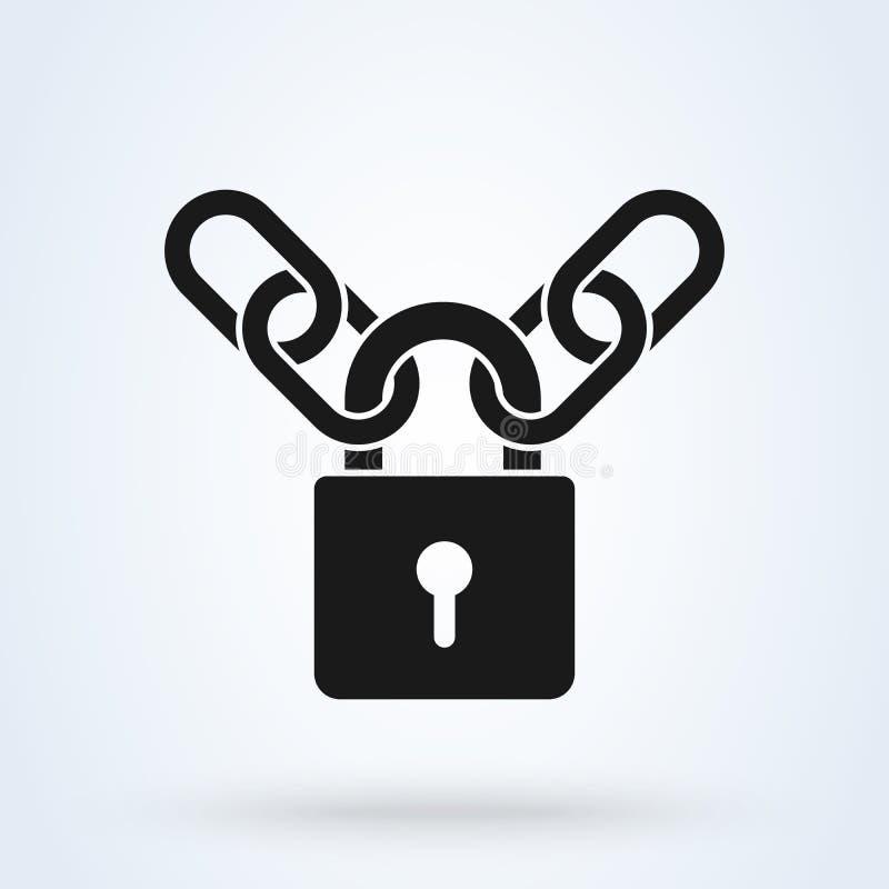 保护的挂锁和金属链象概念 r 库存例证
