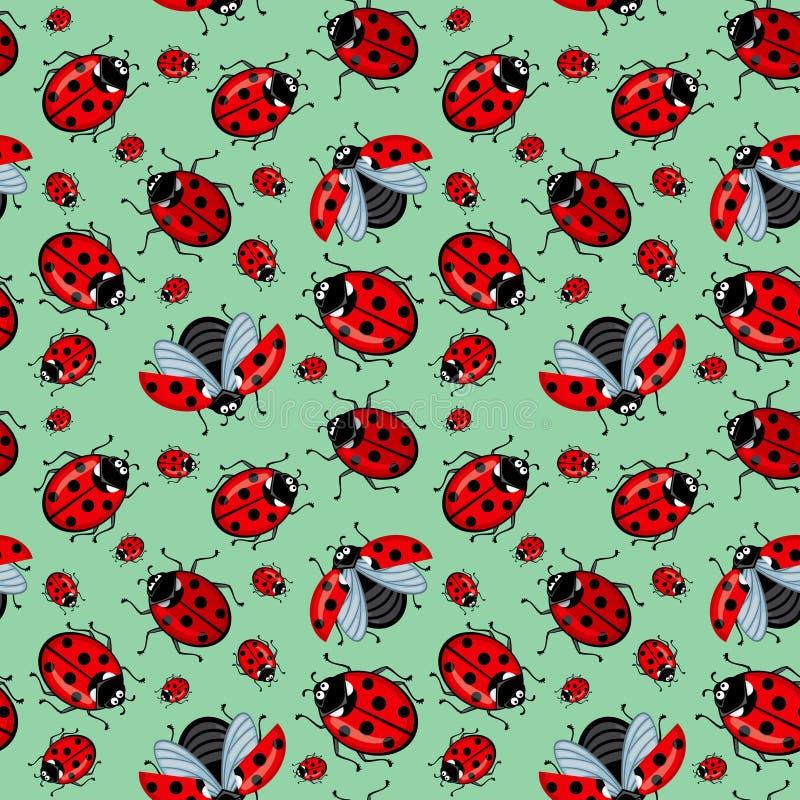 Corel naadloos patroon Beeldverhaal rode lieveheersbeestjes op een blauwe munt als achtergrond royalty-vrije stock foto