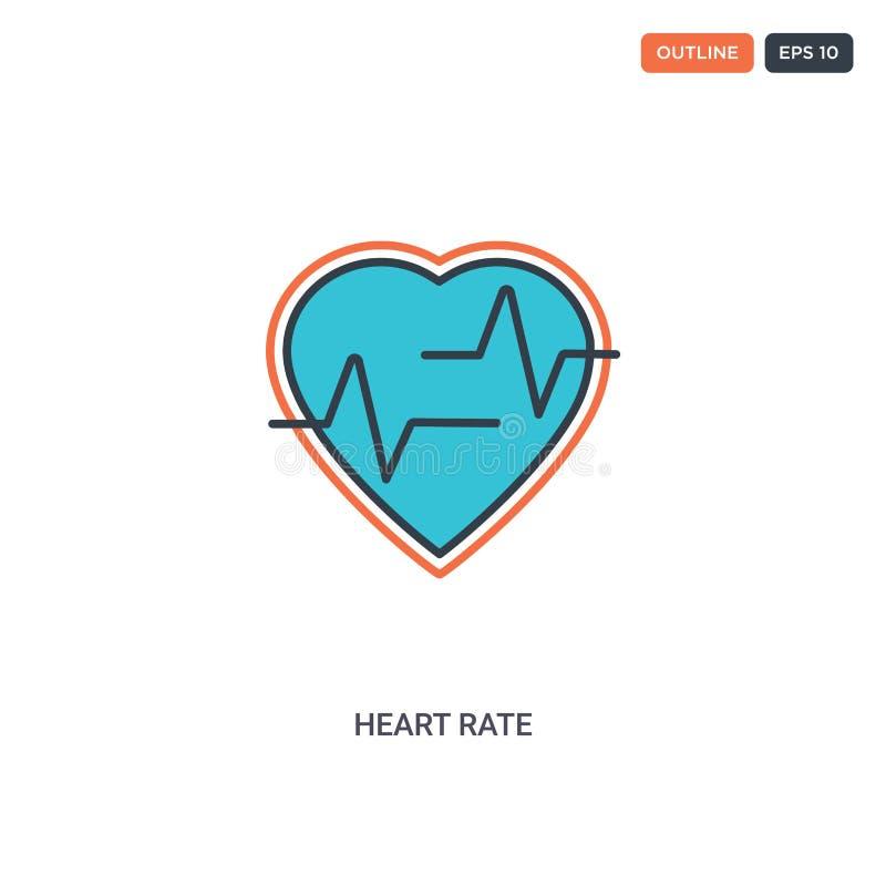 2 cores Ícone de vetor de linha do conceito de taxa cardíaca podem ser usados dois ícones coloridos de destaque de frequência car ilustração stock