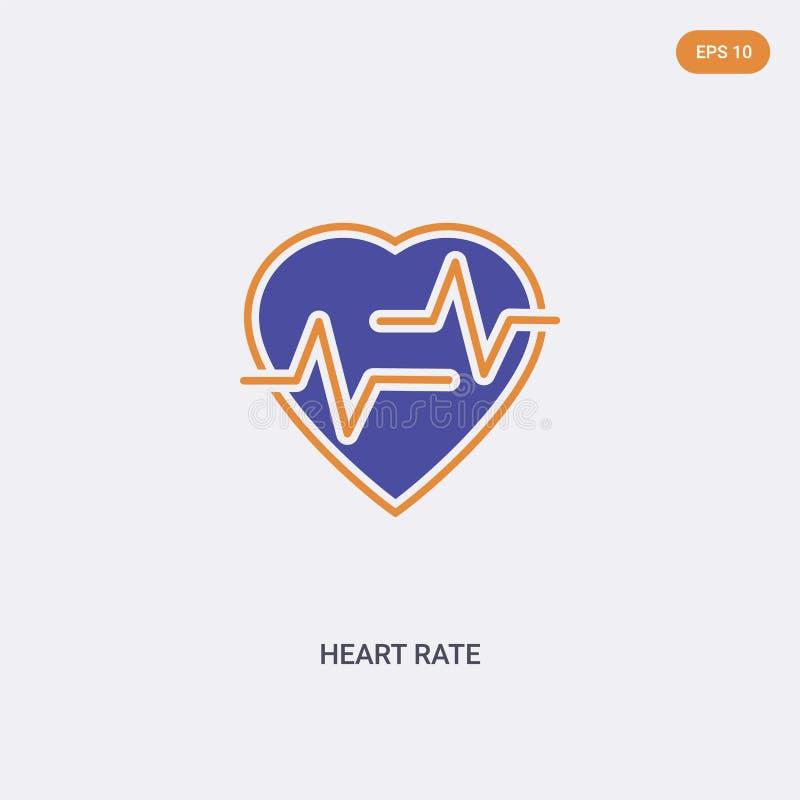 2 cores Ícone do vetor do conceito de taxa cardíaca duas cores isoladas Símbolo de vetor de frequência cardíaca projetado com cor ilustração stock