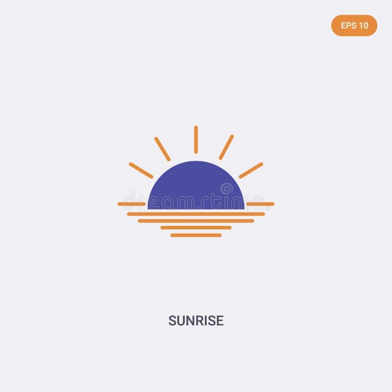 2 cores Ícone do vetor do conceito do sunrise duas cores isoladas Símbolo de vetor sunrise projetado com cores azuis e laranja po ilustração stock