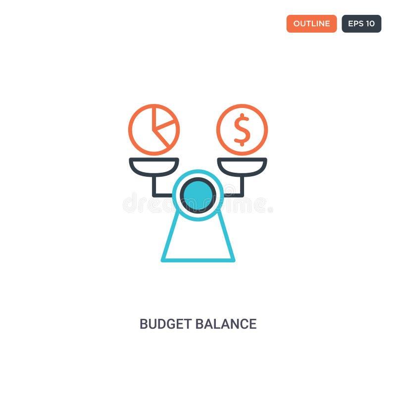 2 cores Ícone do vetor da linha do conceito de saldo orçamentário duas cores isoladas ícone contorno Saldo de Orçamento com cores ilustração stock