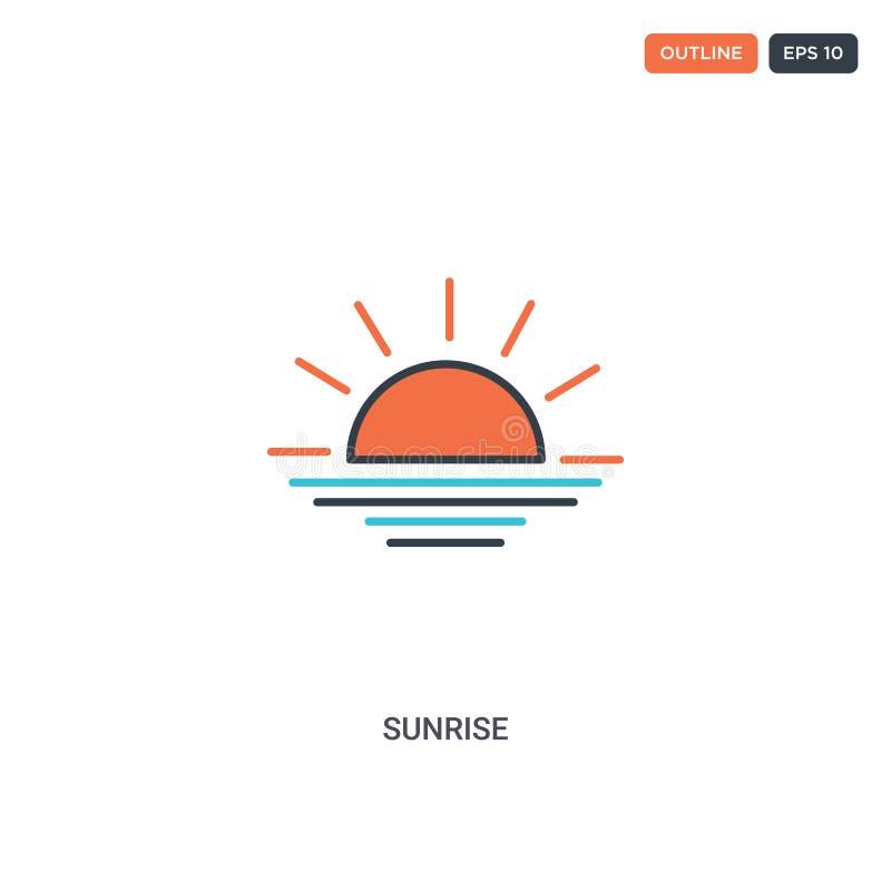 2 cores Ícone do vetor da linha do conceito do Sunrise podem ser utilizados para a internet dois ícones coloridos do Sol com core ilustração stock