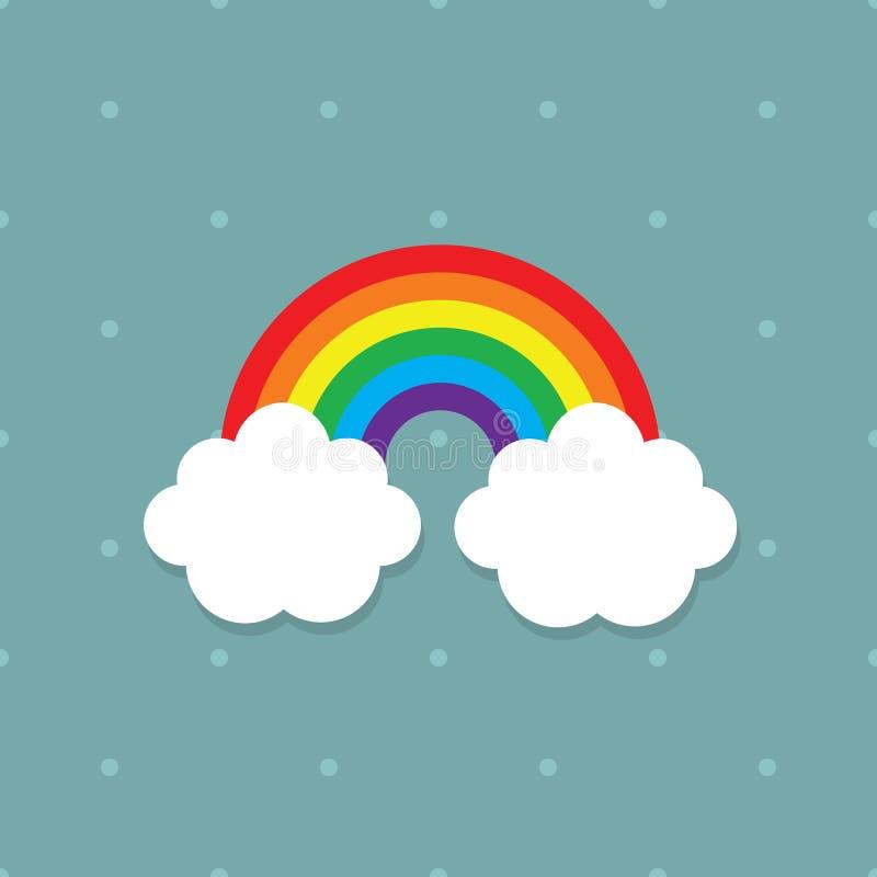 Cores abstratas bonitos do arco-íris das crianças com as nuvens brancas no fundo pontilhado azul da cerceta ilustração royalty free