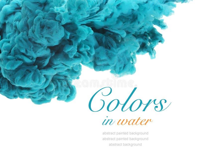 Cores acrílicas e tinta na água abstraia o fundo imagem de stock