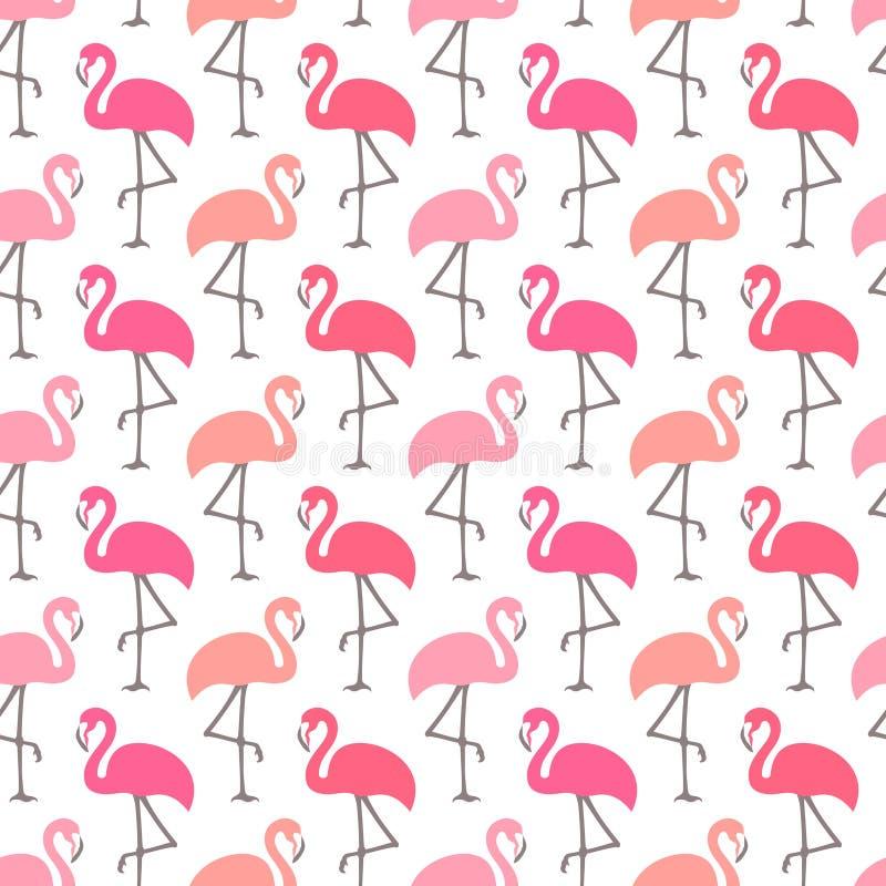Cores cor-de-rosa diferentes dos flamingos gráficos sem emenda do teste padrão ilustração royalty free