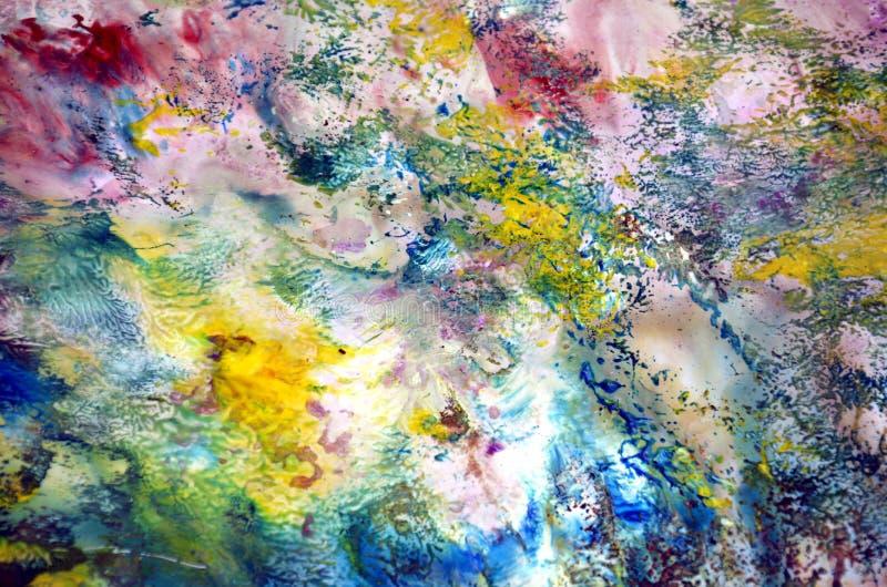 Cores cor-de-rosa roxas macias do vintage do verde amarelo, fundo da pintura, matiz, fundo da pintura da aquarela ilustração stock