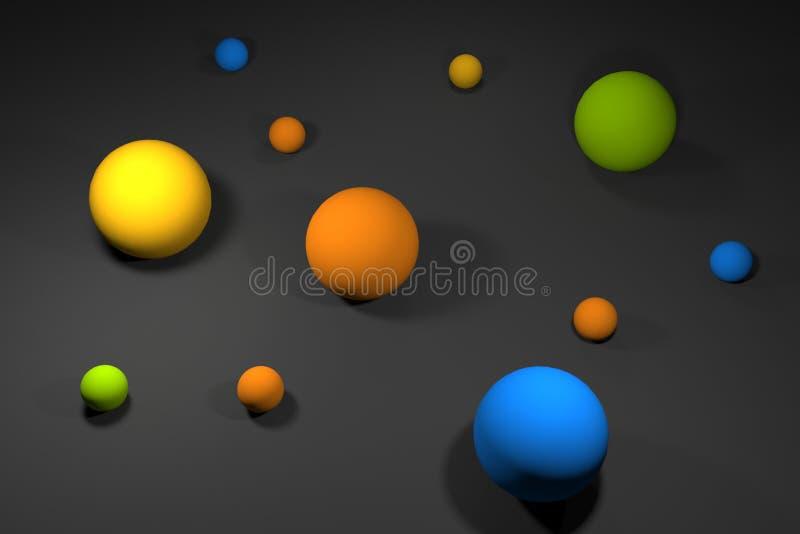Cores 3d das esferas para render o sumário do fundo ilustração royalty free