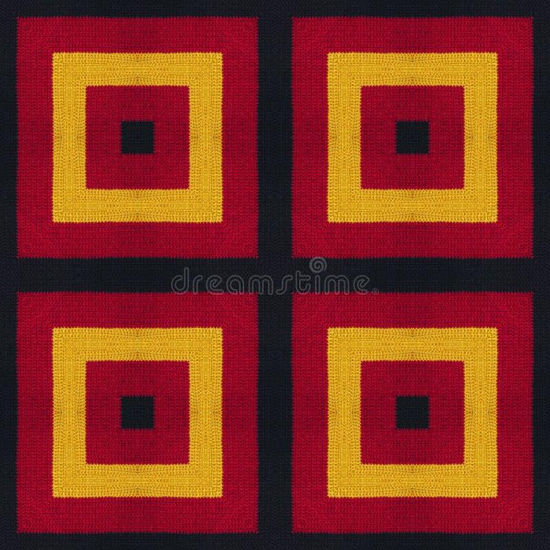 Cores da bandeira de Alemanha Crochet fez malha o fundo do estilo, vista superior Colagem com reflexão de espelho Montagem sem em fotografia de stock royalty free