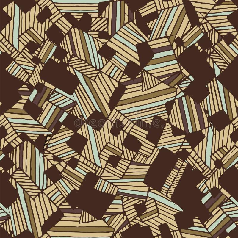 Cores da luz geométrica abstrata sem emenda do teste padrão e do marrom escuro ilustração stock