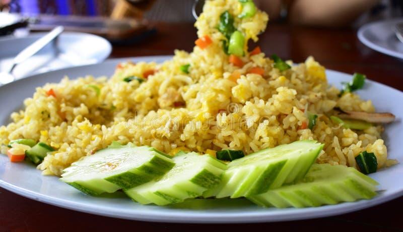 Cores de Fried Rice Beautiful do caranguejo, apetitoso e importante Muito saboroso fotos de stock royalty free