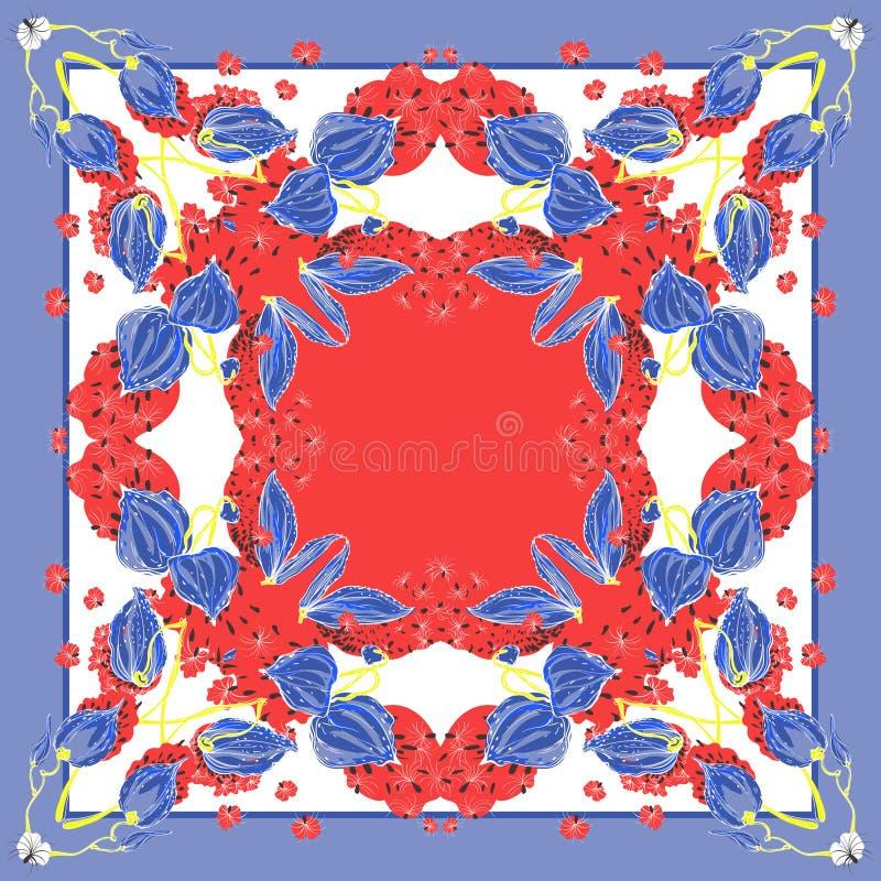 Cores delicadas do lenço de seda com o syriaca de florescência do asclepias Violeta, vermelho, azul e branco fotografia de stock
