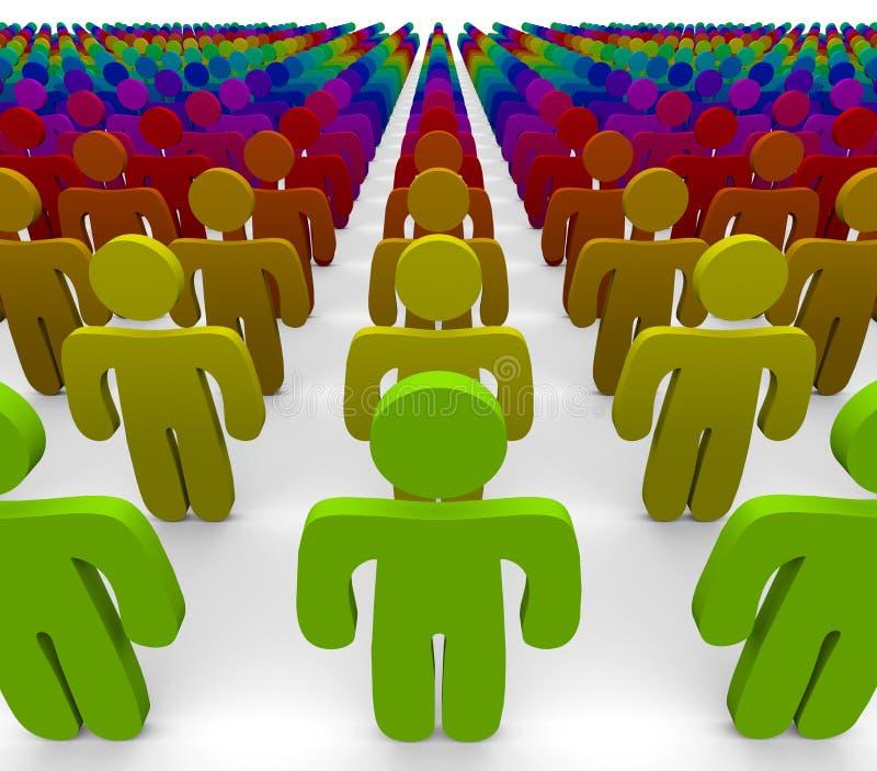 Cores do arco-íris - grupo de pessoas diverso ilustração do vetor