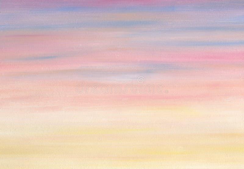 Cores do inclinação da noite do céu do mar Pintura a óleo ilustração royalty free