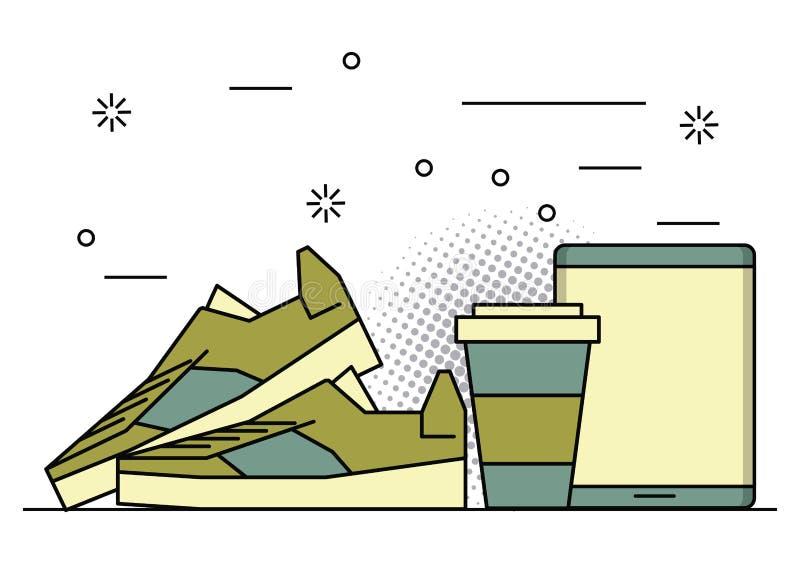 Cores do vintage dos desenhos animados do estilo de vida do moderno ilustração do vetor