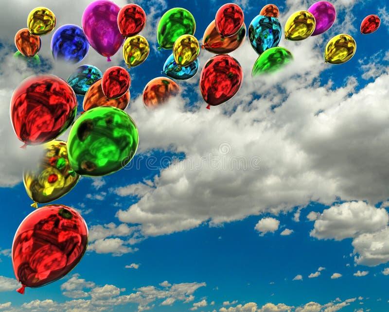 Cores dos balões que voam no fundo das nuvens do céu - rendição 3d foto de stock