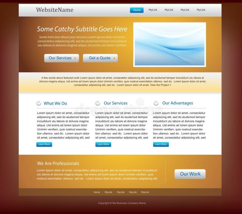 Cores douradas e azuis do molde do projeto do Web site - ilustração do vetor