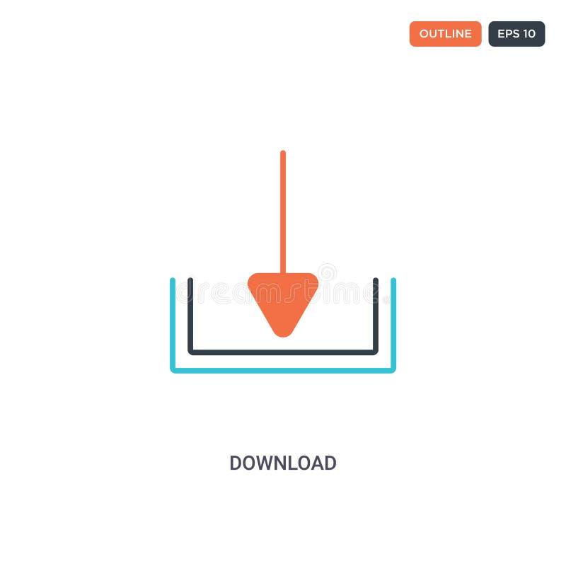 2 cores Download ícone vetor de linha de conceito ícone de destaque de download isolado com duas cores com cores azuis e vermelha ilustração do vetor